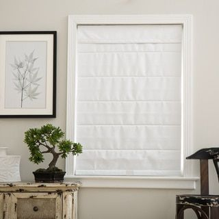 Cloud White Cordless Fabric Roman Blackout Shade