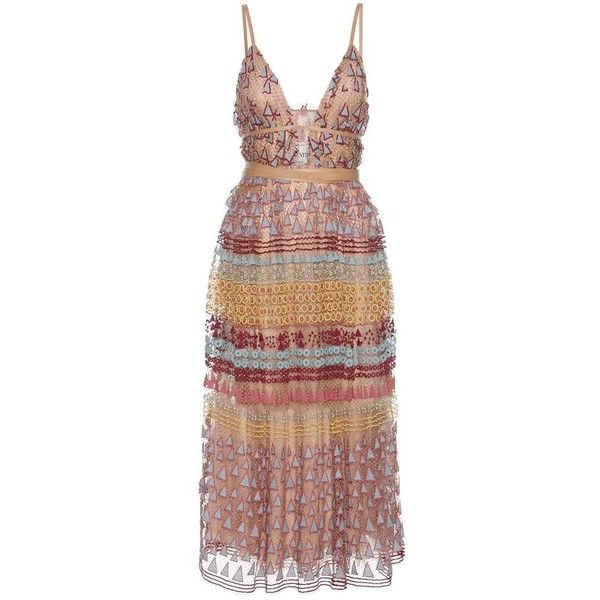Valentino Embroidered Cotton-Blend Maxi Dress found on Polyvore featuring dresses, vestidos, valentino, cocktail/gowns, multicoloured, embroidered dress, evening maxi dresses, holiday dresses, valentino dress and beige dress