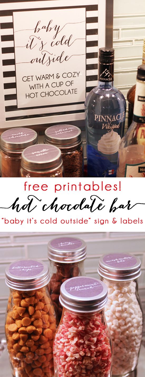 "A Festive Holiday Hot Chocolate Bar + Free Printables. Get ideas for creating your own hot cocoa station, and download and print the ""Baby It's Cold Outside"" sign and labels for your hot chocolate powders and mix-ins. {blue i style}"