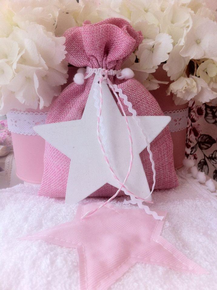 Μπομπονιέρα βάπτισης ροζ πουγκί με ξύλινο αστεράκι