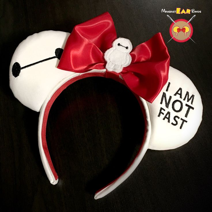 Baymax Embroidered Mickey Ears with Baymax Feltie by MouseketEarBands on Etsy https://www.etsy.com/listing/454091656/baymax-embroidered-mickey-ears-with