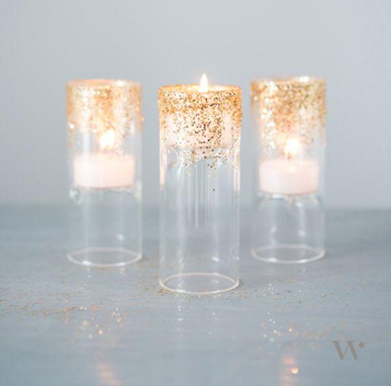 DIY glitter candle holders via Weddingstar