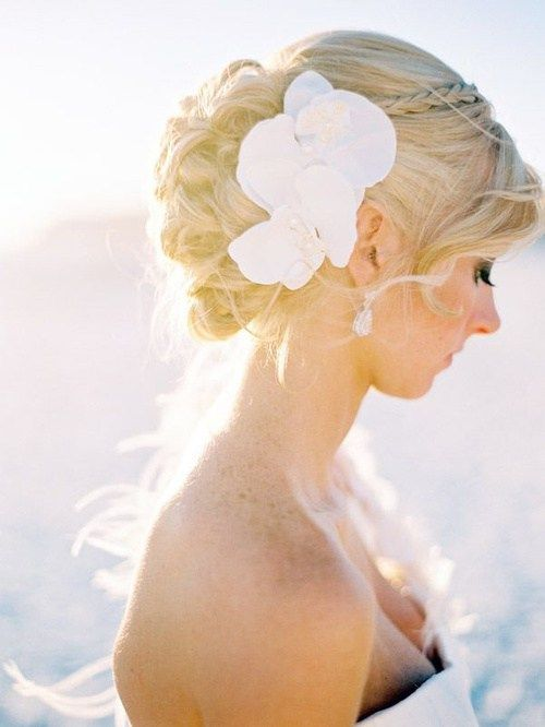 updo with hair flowers for beach wedding-  But maybe no flower with a thin headb…
