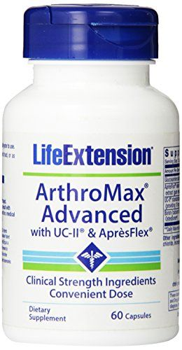 Life Extension Arthromax Advanced with UC-II and AspresFlex, 60 Capsules:   Arthromax Advanced with UC II and ApresFlex from Life Extension is here to help you perform at your best. The new ArthroMax formula provides more joint support with two innovative, clinically validated ingredients: ApresFlex and UC-II. ApresFlex is a patent pending ingredient that targets better joint comfort while UC-II provides more nature collagen that can help flexibility. Now 52 percent more absorbable tha...