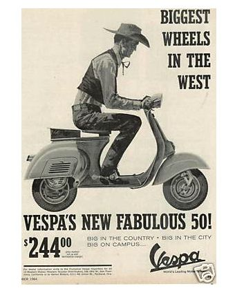 One of my have vintage Vespa ads. Vespa Lexington used to sell t-shirts with the image. http://vespalexington.com