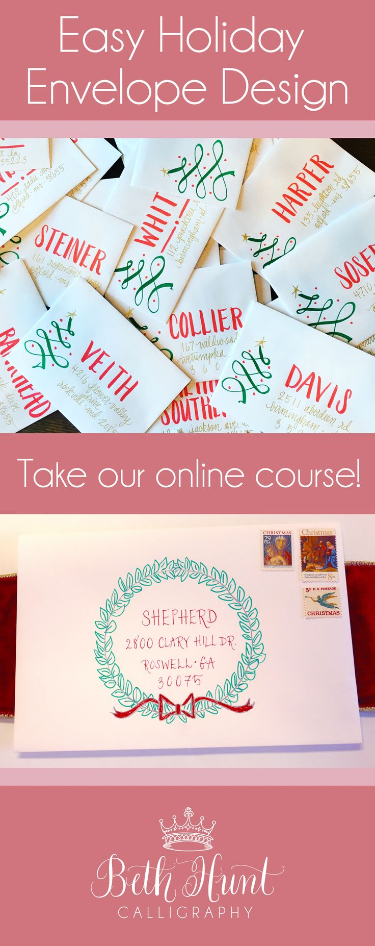 Fun and Easy Online Class on Christmas Envelope Addressing! #envelopeaddressing