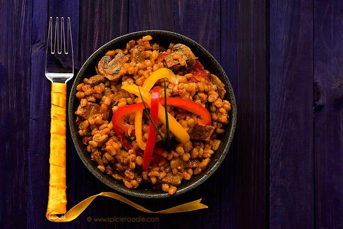 Paprika Spiced Beef, Pepper and Mushroom Barley Pilaf Recipe by Spicie Foodie