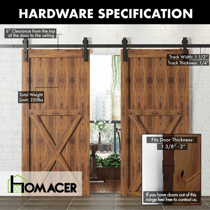 Classic Design Standard Double Track Barn Door Hardware Kit In 2020 Bypass Barn Door Hardware Barn Door Hardware Barn Door
