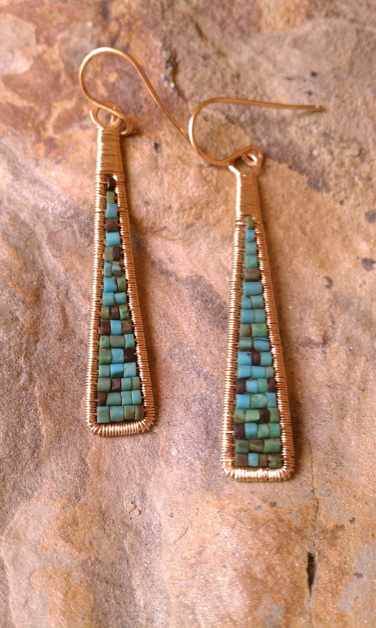 Cleo Earrings Wire Wrapped Turquoise Heishi Beads in 14K Gold Fill Also Available in Lapis by MistyEvansDesign on Etsy
