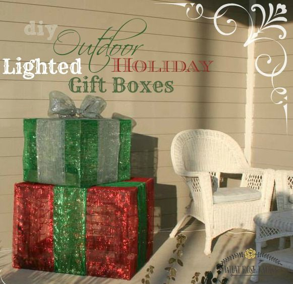 Make your own outdoor lighted Christmas gift boxes! This is great for filling up large front porch spaces on a budget!