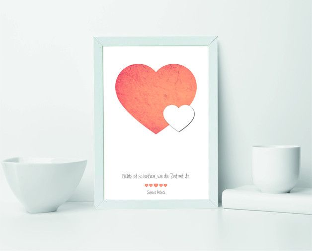 Bild Herz A3 + Rahmen Geschenk Jahrestag Hochzeit