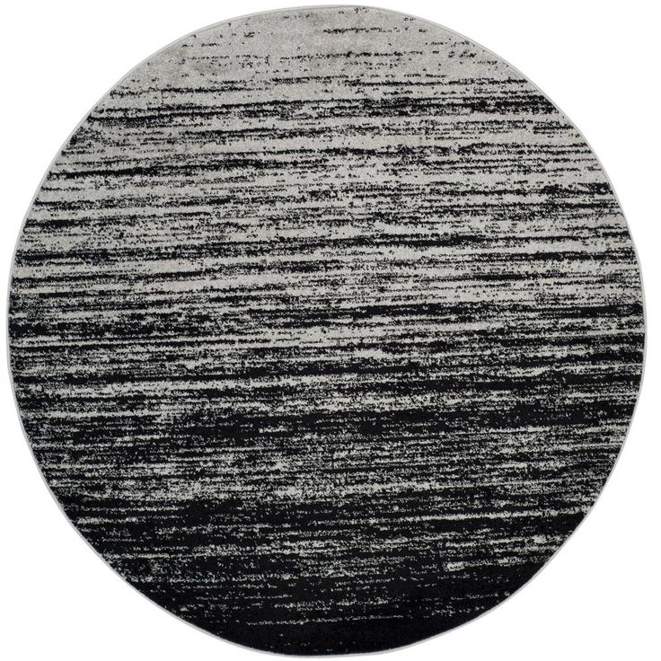 Marvelous Adirondack Silver/Black 6 Ft. X 6 Ft. Round Area Rug