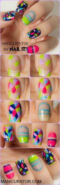 tutorial de unhas mixed prints