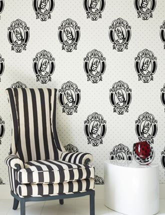 So quirky, it's fabulous.  Antoinette Flocked wallpaper by Barbara Hulanicki: Polka Dots, Hulanicki Flocked, Black And White, Antoinette Wallpapera, Antoinette Wallpapers, Barbara Hulanicki, Black White, Mary Antoinette, Flocked Antoinette