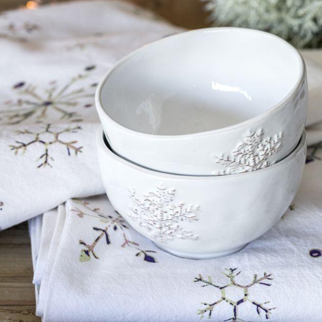Bol en grès émaillé blanc avec motifs Snowflakes Athezza