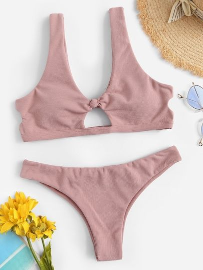cf9ef04ce2 SHEIN Knot Cut Out Front Textured Bikini Set #Boho,Bikini #For Big Bust