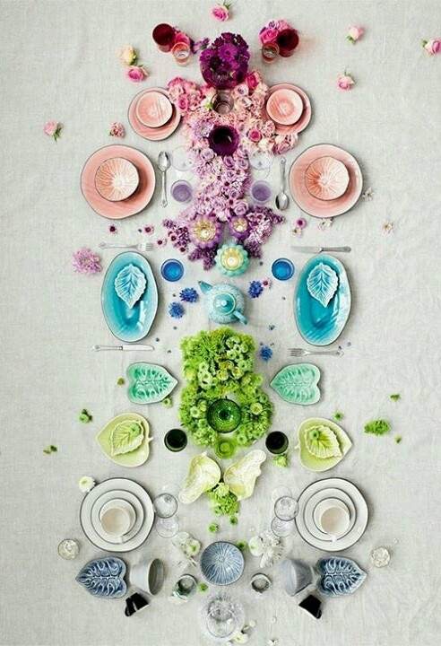 Table setting for a dinner party in spring