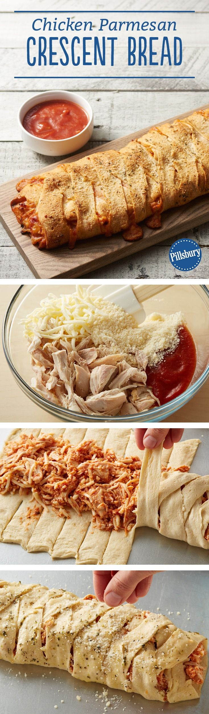 This tasty crescent braid is stuffed with the crowd-favorite flavors of chicken parmesan! It's great to serve for dinner with a Caesar salad or as an appetizer for game day. Expert tip: Looking for a shortcut? Deli rotisserie chicken is a quick and easy substitute. Remove chicken from bones, and chop into bite-size pieces.