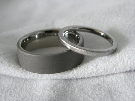 Titanium Ring Set His and Hers Sandblasted and by titaniumknights, $90.00