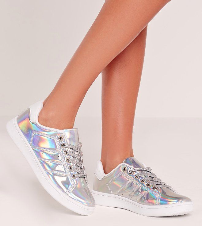 Missguided Silver Tennis Trainers ($40)
