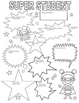 First Day of School Fun Sheet with Super Hero Theme