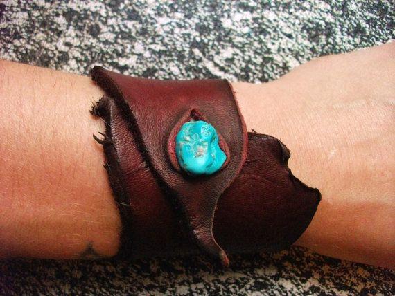 Redwood Leather Wrist Cuff. $20.00, via Etsy. Treadlight Gear