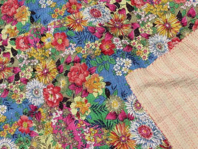 Single Kantha Quilt: Flower Power