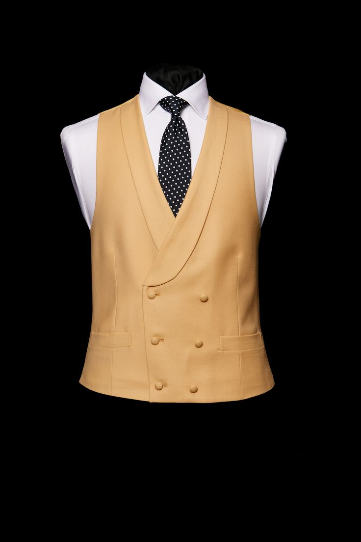 Light lemon double breasted wool waistcoat - click here to zoom