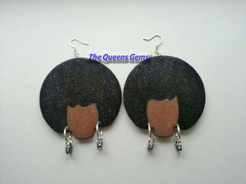 Handpainted Afro Hair Lady Hoop Wooden Earrings by TheQueensGems,