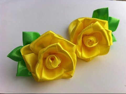 Украшение на резинку Канзаши / Желтые розочки - YouTube