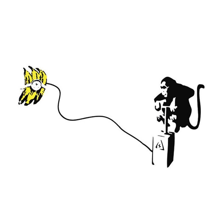 iART Banksy 'Monkey Detonator Banana Bomb' Print Wall Art