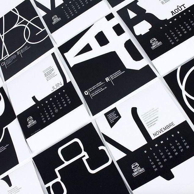 Calendrier pour Emploi Compétences. #thinkcake #typographie
