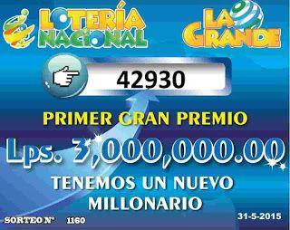 Resultados sorteo Loteria  La Grande No 1160 del domingo 31-5-15...
