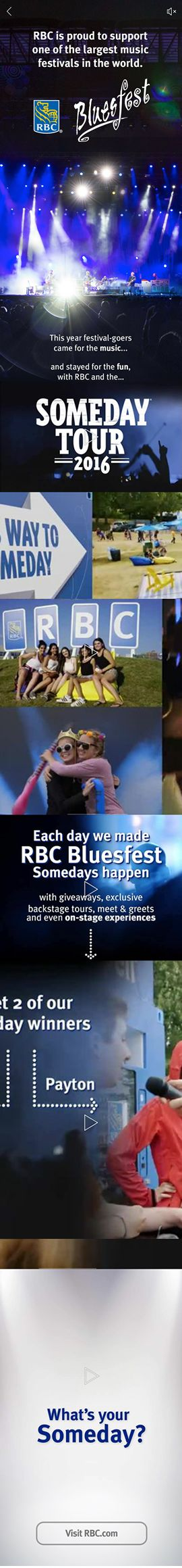 RBC promotes their involvement with RBC Bluesfest in Ottawa, Canada. This is stitched together from a number of screenshots from a long, scrolling mobile Facebook campaign that included video and panoramic photos.