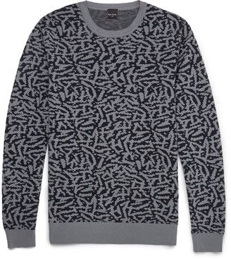 PS by Paul Smith Jungle Camo Cotton Sweater - Shop for women's Sweater - Gray Sweater
