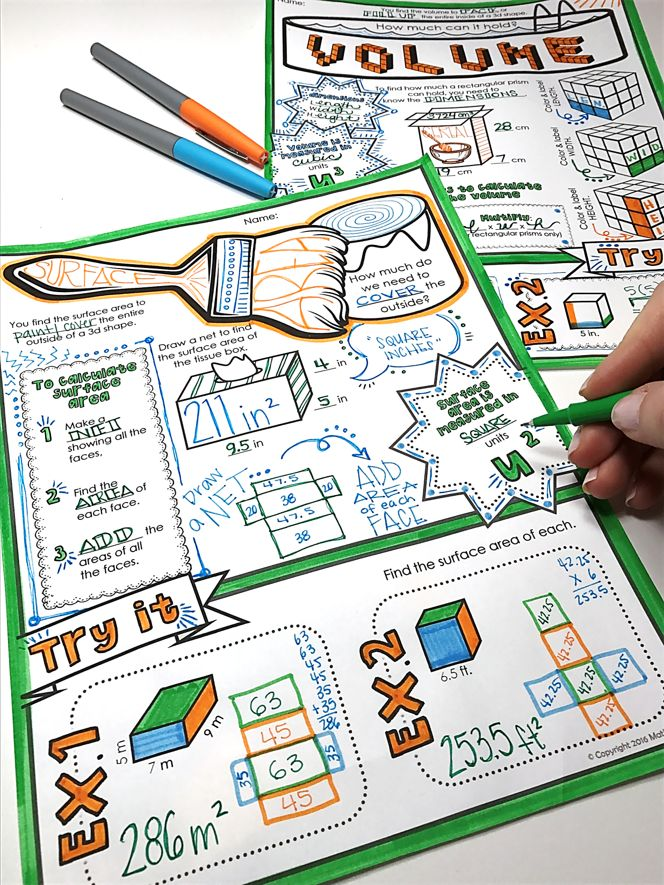 """Volume and Surface Area - """"doodle notes"""" for retention and focus!"""