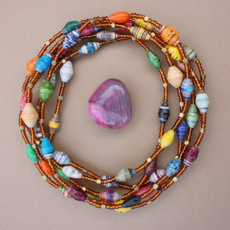This is simple, yet beautiful; I will substitute stones for the paper beads paper bead jewelry | paper beads | Jewelry Related