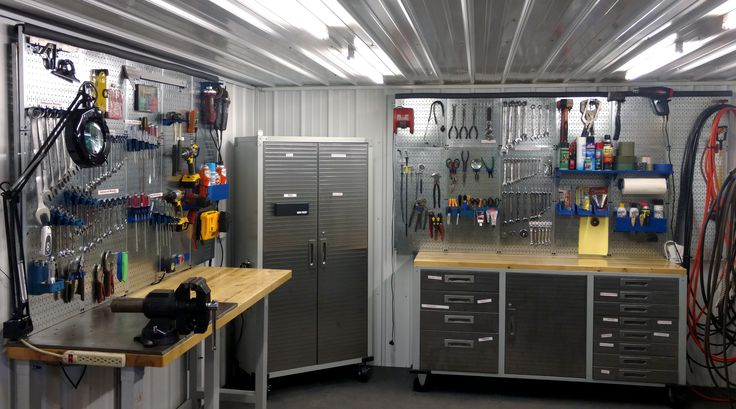 This DIY dream bunker is organized to perfection with Wall Control metal pegboard! DIY projects go much smoother (and quicker) when you're organized. Let Wall Control metal pegboard help you put your tools where you can see them when you need them. Thanks for the great photo Jerry!