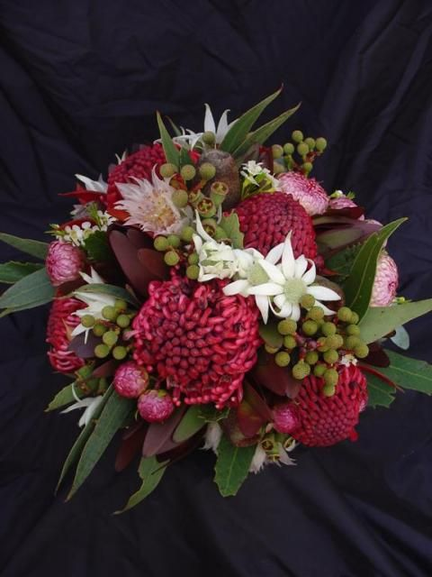 native bouquet including waratahs