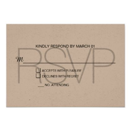 Modern Kraft RSVP Response Reply Card - chic design idea diy elegant beautiful stylish modern exclusive trendy
