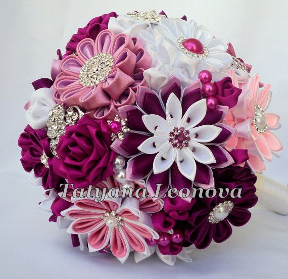 Brooch bouquet 7 inches. Original handmade Wedding Bouquet in burgundy, fuchsia, pink, purple and white. Flowers made of satin ribbon, decorated with