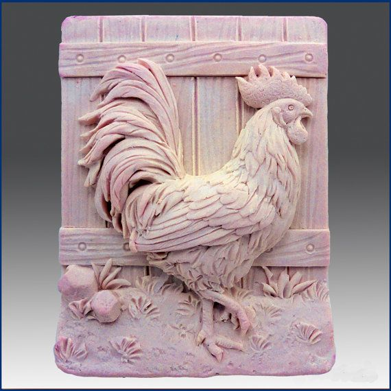 Handsome Rooster – Detail of high relief sculpture – Silicone Soap/plaster/clay Mold – buy from original designer and maker