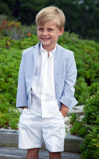 A classic seersucker blazer is a great look for any spring holiday or summer fete. Baby CZ by Caroline Zapf.