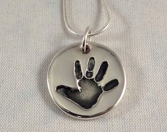 Footprint Necklace Silver Engraved Fingerprint by HannahJJewellery