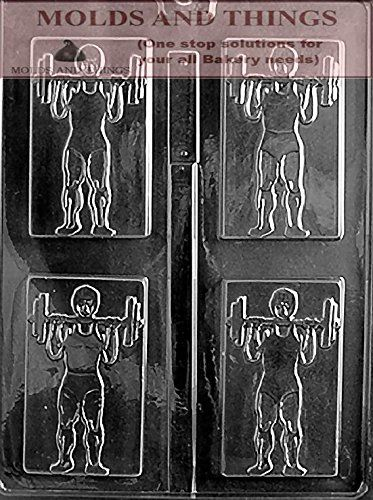 WEIGHT LIFTER Chocolate Candy Mold, Sports chocolate candy mold With copywrited Molding Instruction