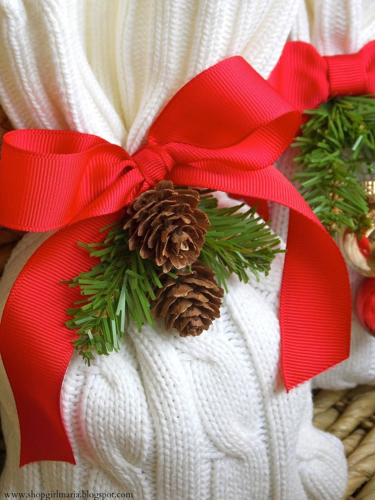 Christmas Treat Bags   ~    beautiful  bags made from an old cable knit sweater