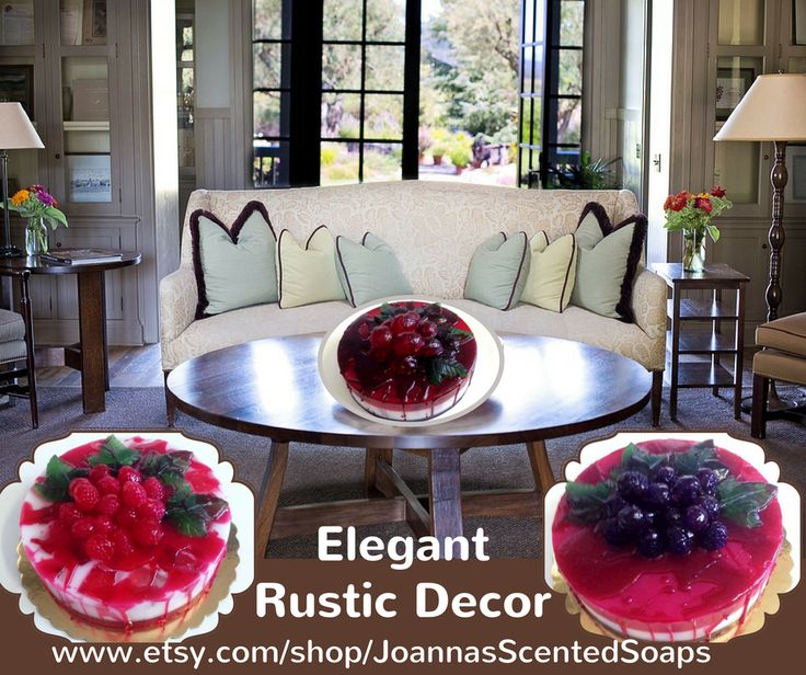 """Do you like this living room? I think it's so elegant! Rustic decor is so """"in"""" in our days and French provincial style fits beautifully into either elegant homes and charming country houses. And my Forest Fruits & Berries Artfully-designed Scented Soap Cakes, on a Cake dish as a table centerpiece decoration, match so much with the French country style! A very pleasant Housewarming gift too! Only made to order - you can choose color and fragrance."""