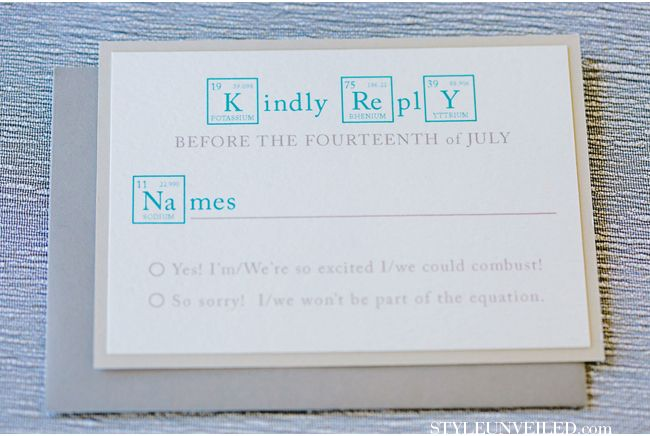 For all of you science enthusiasts out there, this stationary will tickle your fancy! Periodic table inspired RSVP cards!