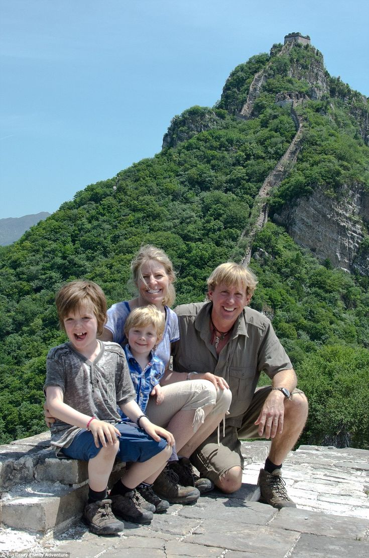Intrepid explorers:Bruce Kirkby and his wife Christine Pitkanen took their two sons Bodi and Taj, aged three and seven, on a holiday of a lifetime including seeing sights such as the Great Wall of China