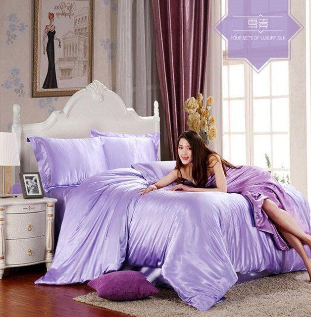 Pure Satin Silk Bedding Set 3 4pcs Twin Full Queen King Size Bed Sheet Set Solid Duvet Cover Set Sheet Soft Purple Bedding Sets Purple Bedding Silk Bedding Set